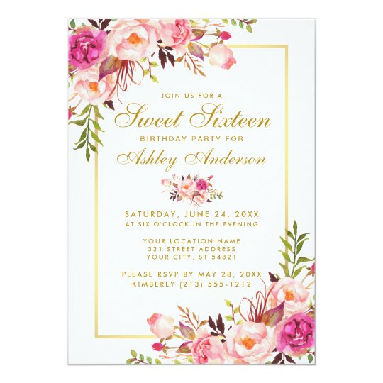 Floral Pink Blush Gold Sweet 16 Birthday Invite