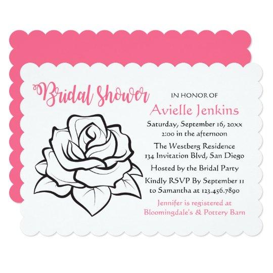 Floral Pink Bridal Shower Black White Rose Flower Card