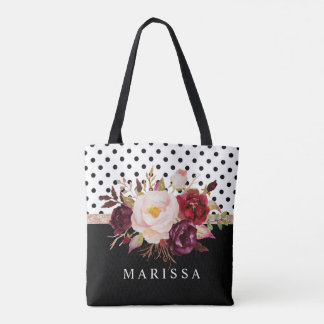 Floral Pink Burgundy Watercolor Black White Dots Tote Bag