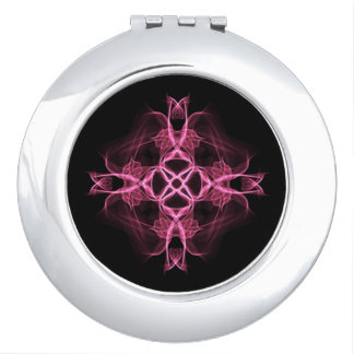 Floral Pink Celtic Cross Compact Mirrors