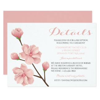 Floral Pink Cherry Blossom Flowers Wedding Details Card