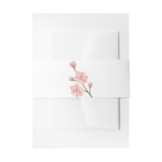 Floral Pink Cherry Blossom Flowers Wedding Party Invitation Belly Band
