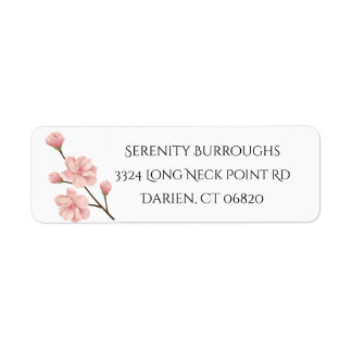 Floral Pink Cherry Blossom Flowers Wedding Party Return Address Label