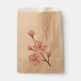 Floral Pink Cherry Blossom Wedding Party Favour Bag