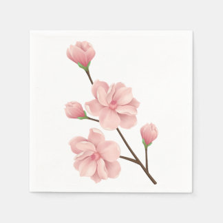 Floral Pink Cherry Blossoms Flower Wedding Party Disposable Napkins