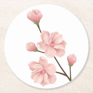 Floral Pink Cherry Blossoms Flower Wedding Party Round Paper Coaster