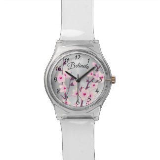 Floral Pink Cherry Blossoms Monogram Watch