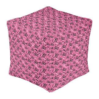 Floral Pink Collage Pattern Pouf