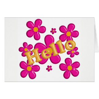 Floral pink element. Hello. Card