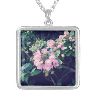 Floral Pink Escallonia Silver Plated Necklace
