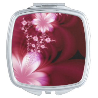 Floral Pink Flower Burgundy Design Travel Mirror