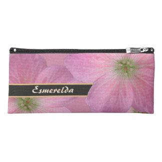 Floral Pink Garden Flower Custom Name Pencil Case