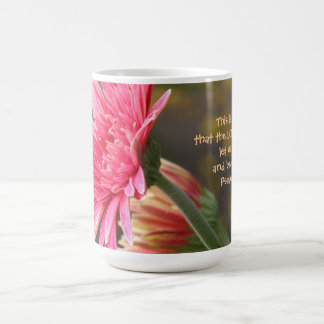 Floral, Pink Gerbera Daisy Quote from Psalm 118:24 Basic White Mug