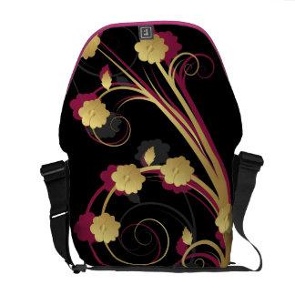 floral pink gold elegance messenger bag