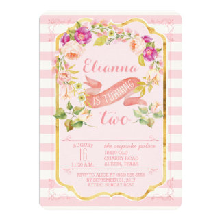Floral Pink & Gold Girl Birthday Party Invitations