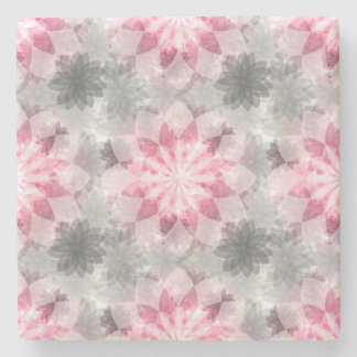 Floral Pink-gray Pattern Stone Coaster