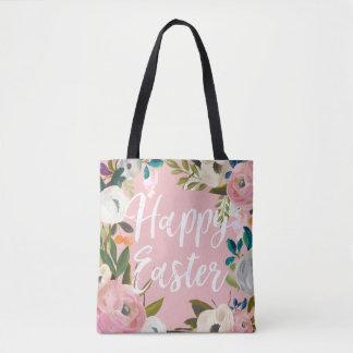 Floral Pink Happy Easter   Easter Egg Hunt Tote Bag