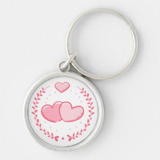 Floral Pink Hearts Laurel Wreath Love Keychain