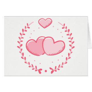Floral Pink Hearts Love Laurel Wreath Wedding Card