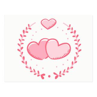 Floral Pink Hearts Love Laurel Wreath Wedding Postcard