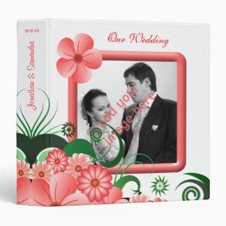 "Floral Pink Hibiscus 1.5"" Wedding Guest Book Album 3 Ring Binders"