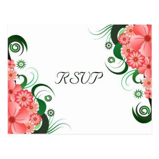 Floral Pink Hibiscus Elegant RSVP Response Card Postcard