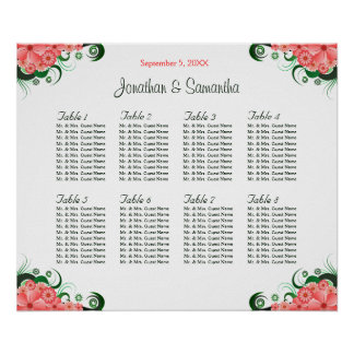 Floral Pink Hibiscus Wedding 8 Table Seating Chart Poster