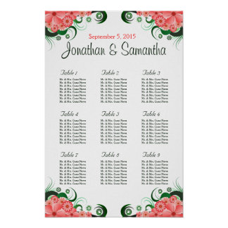 Floral Pink Hibiscus Wedding 9 Table Seating Chart Poster