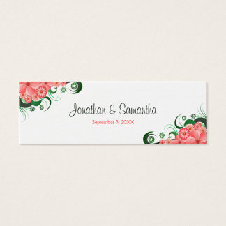 Floral Pink Hibiscus Wedding Favour or  Favor Tags