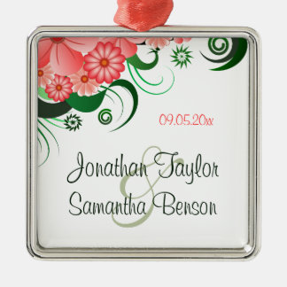 Floral Pink Hibiscus Wedding Keepsake Ornaments