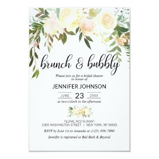 Floral Pink Ivory Brunch & Bubbly Bridal Shower Card