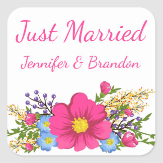 Floral Pink Just Married Watercolor Flower Wedding Square Sticker