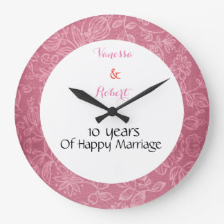 Floral Pink Marriage anniversary Wall Clock