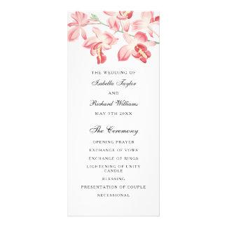 Floral pink orchid elegant modern wedding program rack card template
