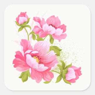 Floral Pink Peonies Flower Stickers