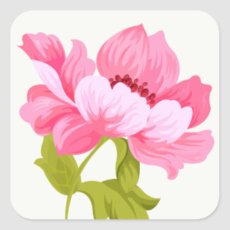 Floral Pink Peonies Watercolors Flower Wedding Square Sticker