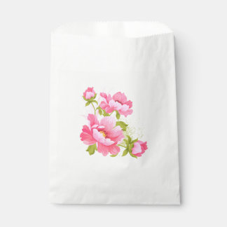 Floral Pink Peony Flower Wedding Peonies Party Favour Bag