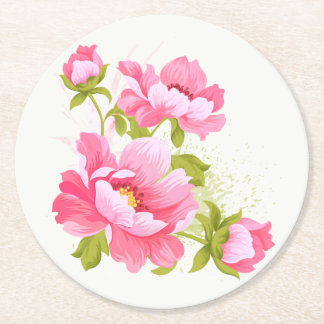 Floral Pink Peony Watercolor Flower Wedding Party Round Paper Coaster