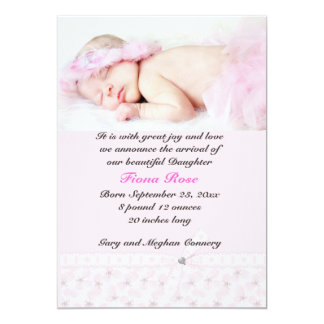 Floral Pink Photo Birth Announcement