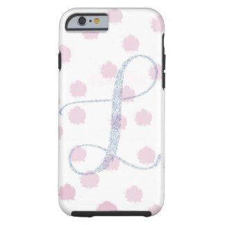 Floral pink polka dot monogram phone case