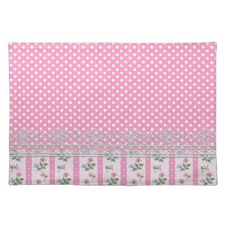 floral pink polka dots design art placemat