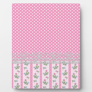 floral pink polka dots design art plaque