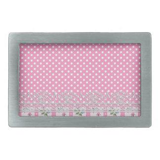 floral pink polka dots design art rectangular belt buckle