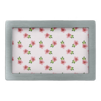 Floral Pink Rectangular Belt Buckle
