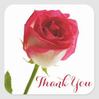 Floral Pink Red Rose Flower Thank You Square Sticker