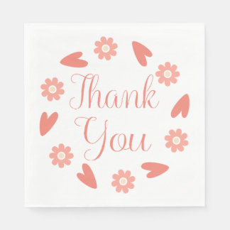 Floral Pink Red Thank You Flowers & Hearts Wedding Paper Napkin