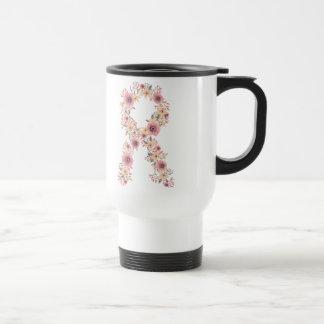 Floral Pink Ribbon Travel Mug