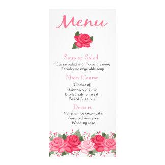 Floral Pink Rose Flowers Menu - Wedding, Party