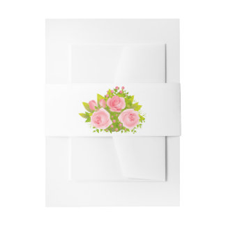 Floral Pink Rose Flowers Wedding Party Invitation Belly Band