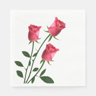 Floral Pink Rose Flowers Wedding / Party Paper Napkin